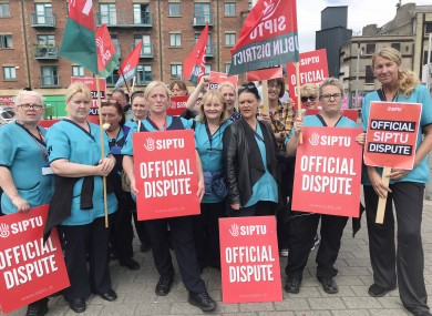 The support staff striking outside St. James' Hospital on Wednesday.