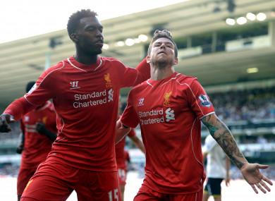 Alberto Moreno (right) celebrates with Daniel Sturridge after scoring for Liverpool against Tottenham in August 2014.
