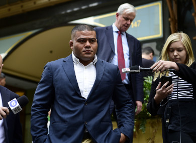 Latu leaves court in Sydney last week.