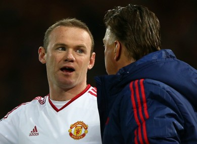 Wayne Rooney with Manchester United manager Louis van Gaal in 2016