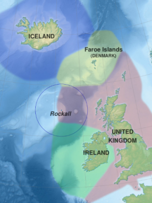 Rockall and its surrounding countries.