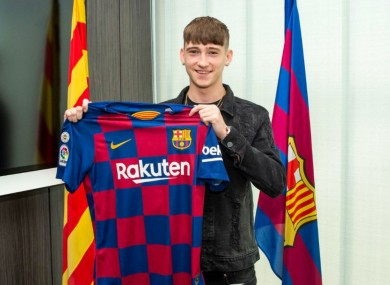 Louie Barry was unveiled as a Barcelona player on Thursday.
