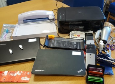 Equipment seized during searches in Dublin on Wednesday.