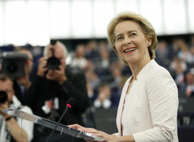 Germany's Ursula von der Leyen delivers her speech this afternoon