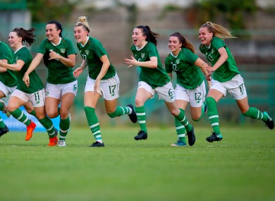 Ireland celebrate winning the penalty shoot-out.