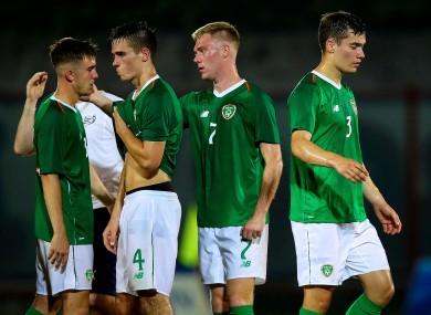 The Irish team react to defeat.