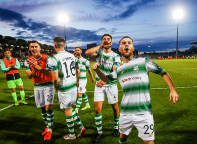 Jack Byrne leads the celebrations after the Hoops knocked out SK Brann.