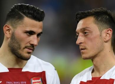 Arsenal's Sead Kolasinac and Mesut Ozil.