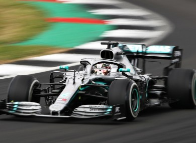 Lewis Hamilton en route to victory at the British Grand Prix.