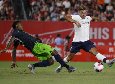Alex Oxlade-Chamberlain in action in New York.