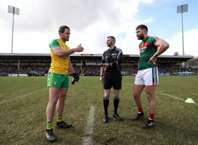 Michael Murphy and Aidan O'Shea at the coin toss during their league encounter.