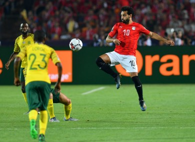 Mohamed Salah (C) in Egypt's defeat to South Africa