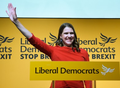 Jo Swinson speaking at Proud Embankment in London after she was elected leader of the Liberal Democrats