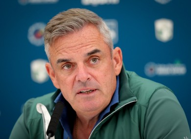 McGinley speaking during Tuesday's press conference at Lahinch.