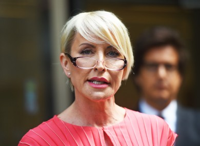 Heather Mills speaking outside the Rolls Building in London after receiving a public apology in the High Court.