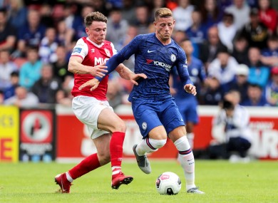 Ross Barkley competes for possession at Richmond Park.