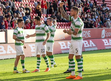 Shamrock Rovers players celebrate after the game.