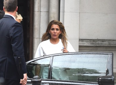 Princess Haya Bint Al Hussein leaving the Royal Courts of Justice in London after the latest hearing yesterday.