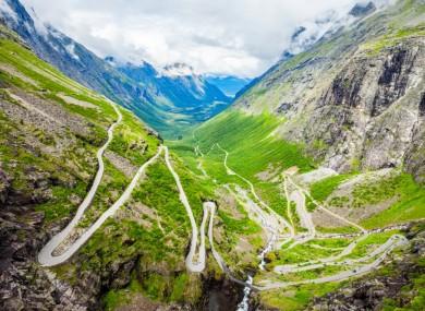 The Troll's Road, or Trollstigen, in Norway.