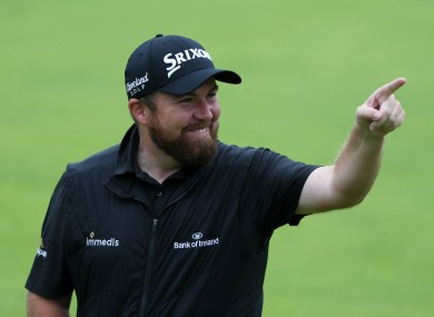 Shane Lowry on the 18th green in Portrush yesterday.
