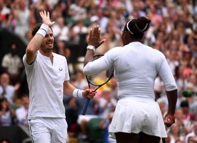 Murray and Williams celebrate their mixed doubles win.