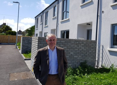 Howlin outside a new housing development in Wexford town.