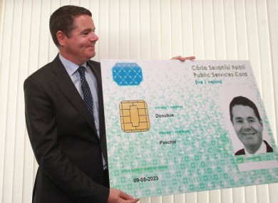 Minister Paschal Donohoe with the card back in 2016