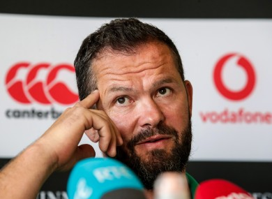 Andy Farrell at today's team announcement.