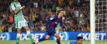Barcelona's Antoine Griezmann scores his first goal for the club