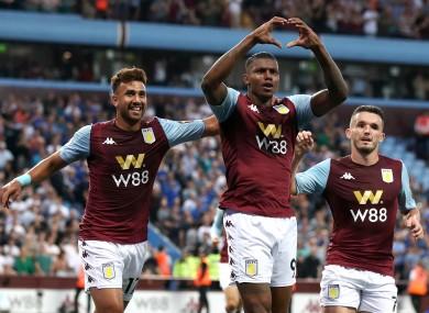 Aston Villa's Wesley (centre) celebrates scoring.
