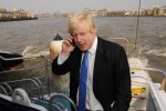 Boris Johnson rides aboard a Thames Clipper during his time as London Mayor. April 2009.