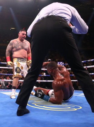 Andy Ruiz knocks down Anthony Joshua in their thrilling first encounter.