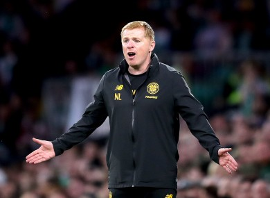 Celtic's manager Neil Lennon gestures on the touchline.