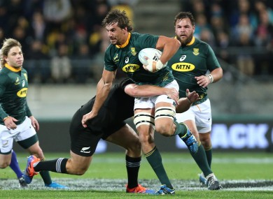Eben Etzebeth makes a carry in South Africa's draw against New Zealand last month.