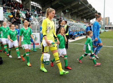 Emma Byrne leading out her Ireland side in 2017.