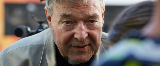 Cardinal George Pell arrives in court in February