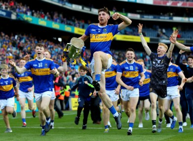 The Tipperary hurlers celebrating their All-Ireland triumph in Croke Park.