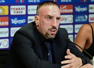 Ribery attends a press conference for his official presentation in Florence.