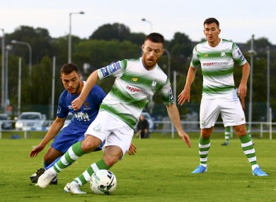 Jack Byrne evades the challenge of Cory Galvin.