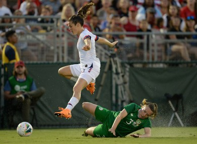 Kelly O'Hara with Harriett Scott during this month's friendly with the USA at the Rose Bowl