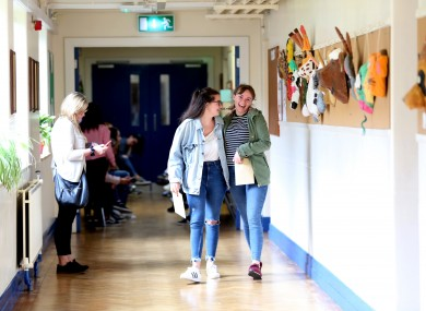 Students at Maryfield College in Drumcondra receiving their Leaving Cert results in 2017