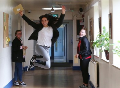 Students at Dublin's Maryfield College celebrating their Leaving Cert results in 2017