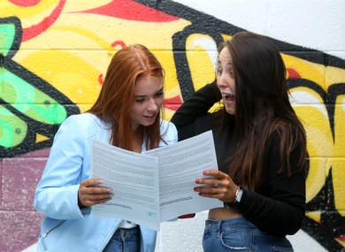 Students receive their Leaving Cert results.