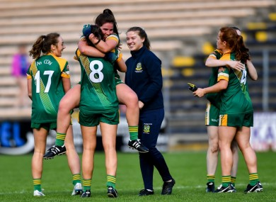 Meath players Shauna Ennis and Máire O'Shaughnessy celebrate.