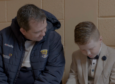 Wexford manager Davy Fitzgerald and 11-year-old Michael O'Brien.