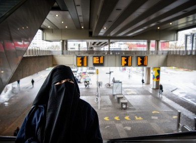 A woman wearing a burka in Rotterdam, Netherlands