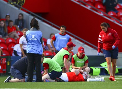 Briggs receives treatment at Musgrave Park last Saturday.