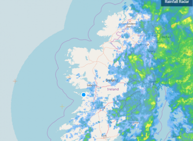 Met Éireann's rainfall radar at 7.20 am this morning.