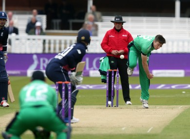 Peter Chase bowls during Ireland's ODI with England at Lord's in 2017.