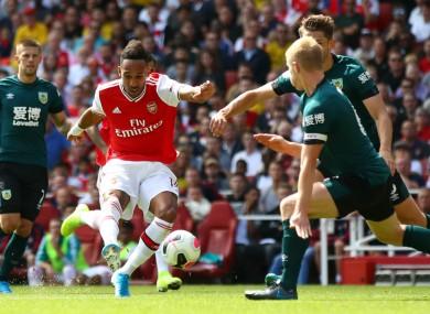 Pierre-Emerick Aubameyang scores for Arsenal.